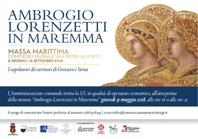 Invito anteprima mostra Lorenzetti 31 maggio